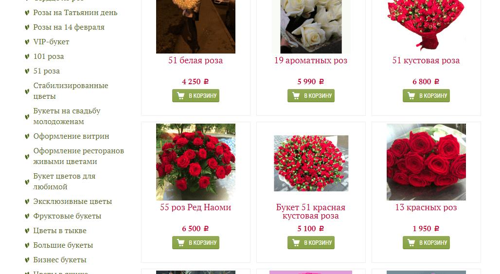 продвижение сайта по доставке роз